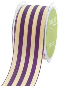 25%OFF May Arts 2-Inch Wide Ribbon, Purple and Ivory Stripe m単位