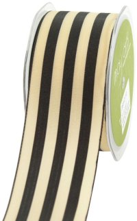 May Arts 2-Inch Wide Ribbon, Black and Ivory Stripe m単位