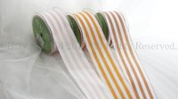 25%OFF May Arts 2-Inch Wide Ribbon,GOLD/WHITE /CHAMPAGNE/WHITE/BROWN/WHITE Stripe m単位