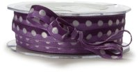 May Arts 3/8-Inch Wide Ribbon,  PURPLE/WHITE Dots  m単位